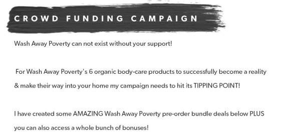 wash away poverty crowd funding campaign