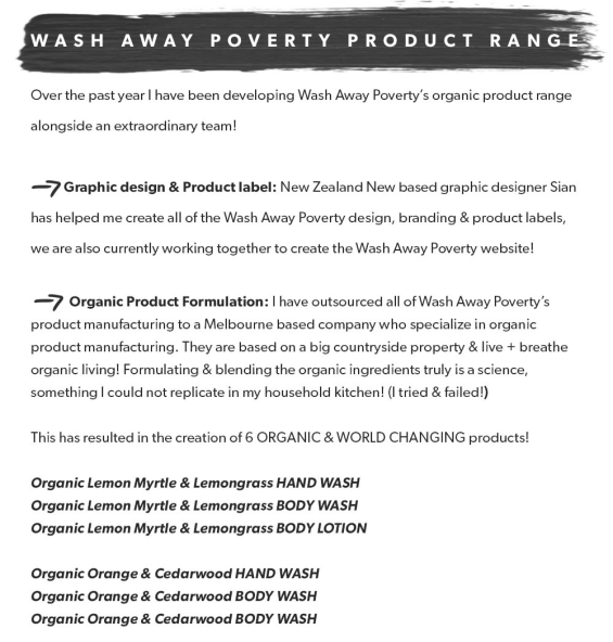 wash away poverty product range